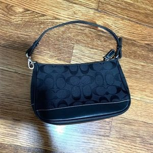 Coach black canvas jacquard wristlet monogram